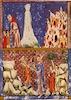 Sarajevo-Haggadah - Lot flies from Sodome / The Sacrifice of Isaac – הספרייה הלאומית