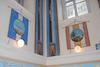 Great Synagogue (Hoykhe Shul) in Botoşani - Main prayer hall - Wall decoration Columns and banners – הספרייה הלאומית