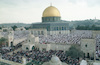 About 300,000 faithful Moslems gathered on Friday to pray the Ramadan Holiday at the Mosque of El Aksa and Omar in the old City of Jerusalem.: