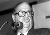 Abba Eban addressing at a discussion on Ulpanim problems in Israel.: