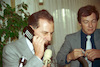 The Motorola Company encovered its first mobile telephone to Communication Minister Amnon Rubinstein.: