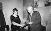 Defence Minister Ariel Sharon presented a medal to daugther of the famous commander of the Red Orchestra who spy during the World War Two for the Soviet Union in Germany.: – הספרייה הלאומית
