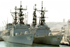 US Navy vesels in Haifa harbour.: