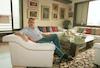 "Arie Baranovicz in his home in Tel Aviv, 2 Pompadita St.Photo shows: ""Arie Baranovicz House in Tel Aviv, 2 Pompadita St – הספרייה הלאומית"