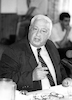 Ariel Sharon holding a press conference.: