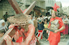A traditional march through the Via Dolorosa Street was held on Good Friday with spectacular costumes which remind the Roman Soldiers guarding Jesus on his last march holding a heavy Cross of which he was later crucified.: