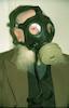 An orthodox Jew wearing a Gas mask during an alert – הספרייה הלאומית
