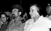 """Celebrating the Simchat Tora at an Army Camp with PM Golda Meir, Chief Chaplain Mordechai Piron and others""""."""