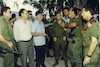 RABIN PRESSURES PLO AFTER ATTACKS Prime Minister and Defense Minister Yitzhak Rabin, Deputy Defense Minister Mordechai Gur, IDF Chief of Staff Ehud Barak and OC Southern Command Maj-Gen. Matan Vilnay visited Kissufim Junction in the Gaza Strip, 15 August 1994, the scene of two terrorist attacks a day earlier in which one Israeli was killed and six were injured.
