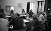 ישיבת אנשי מועצה איזורית גלבוע באולם מפת המים – הספרייה הלאומית